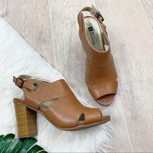 White Mountain Tan Leather Open Toe Block Heels